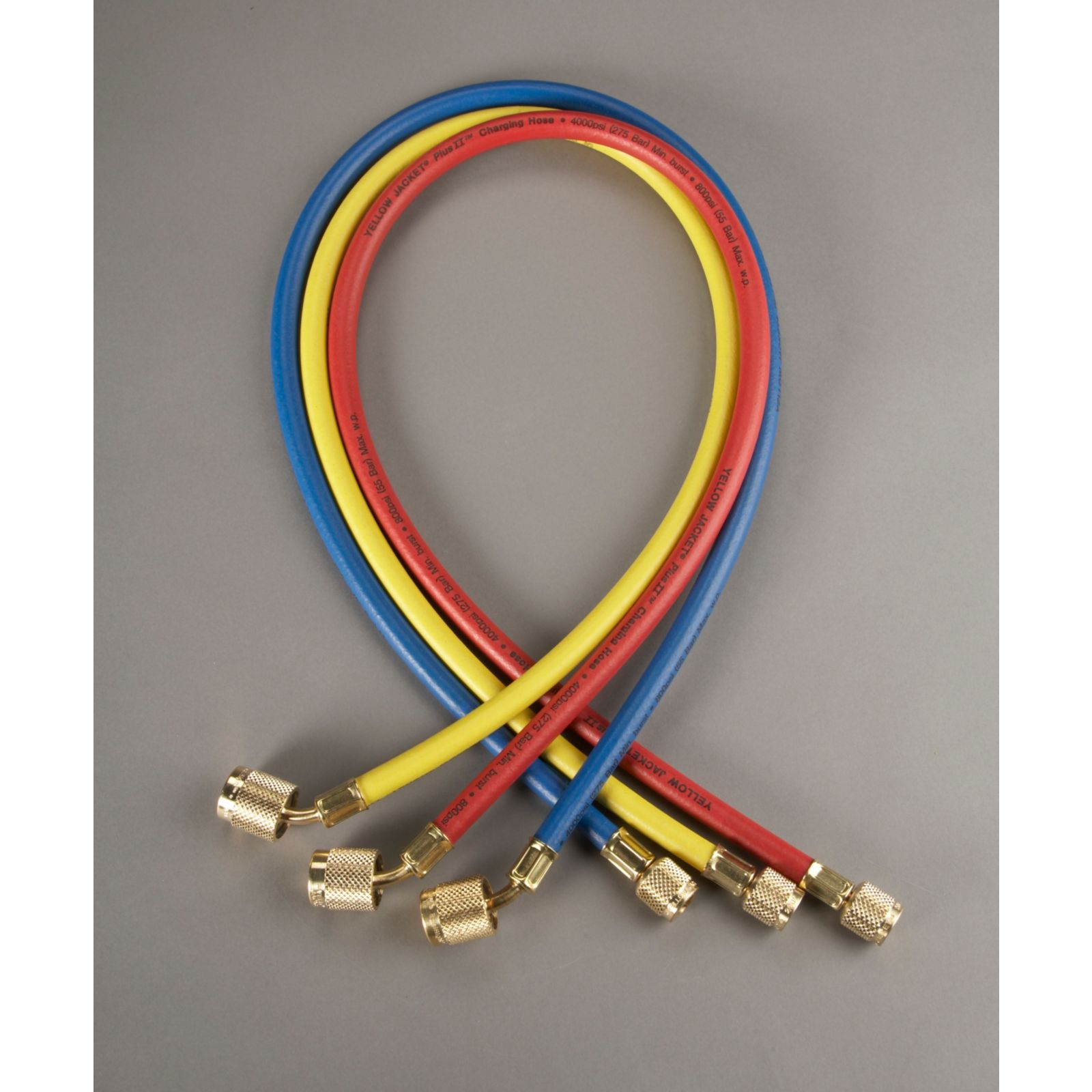 "Yellow Jacket 22984 - Plus II Red, Yellow & Blue Hose with SealRight Low Loss Anti-Blow Back Fitting 1/4"" X 4' (3 pack)"
