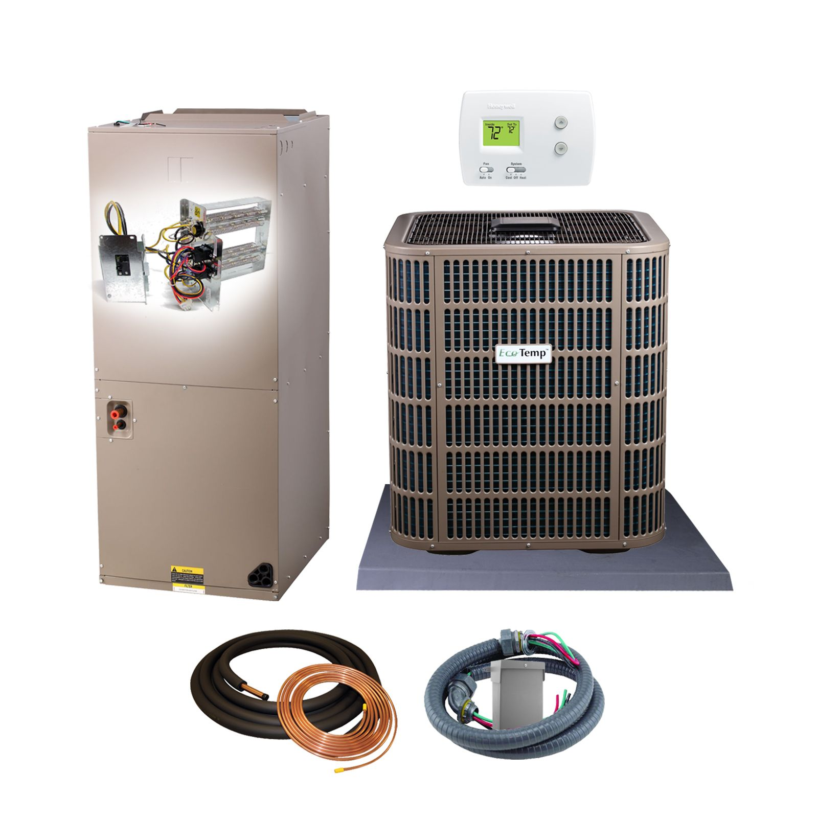 EcoTemp (AHRI 8270074) 4 Ton, 18.5 SEER/12.5 EER Monarch Series, Heat Pump Split System and Install Kit