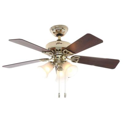 Beacon 42 in. Hill Bright Brass Ceiling Fan