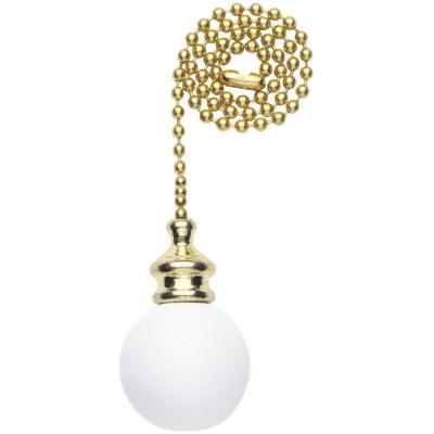 White Wooden Ball Pull Chain