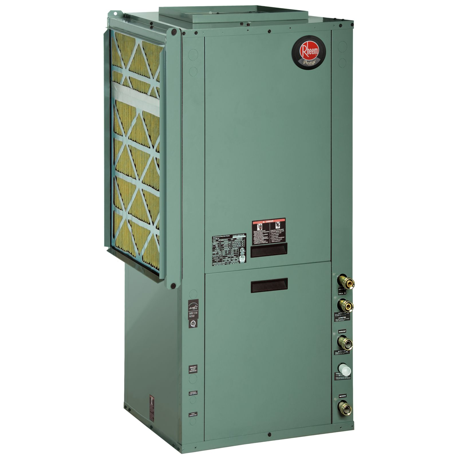 Rheem RPVVA036JC1CLTS - 3 Ton 27 EER Packaged Vertical Geothermal Heat Pump, Copper With Coated Air Coil, Left Return